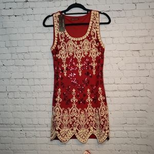 John Fashion Red Embelleshed Party Dress NWT